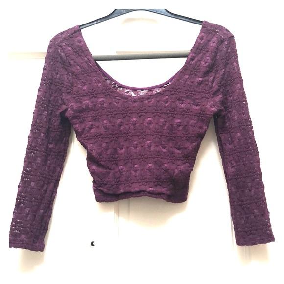 Pins & Needles Tops - Purple/Magenta Lace Crop Top💜